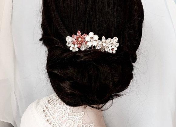 JOSLYN: Pink Floral Rhinestone Comb
