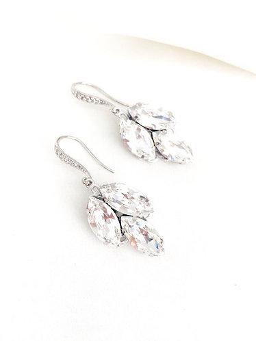 IVY: Swarovski Rhinestone Leaf Drop Earrings