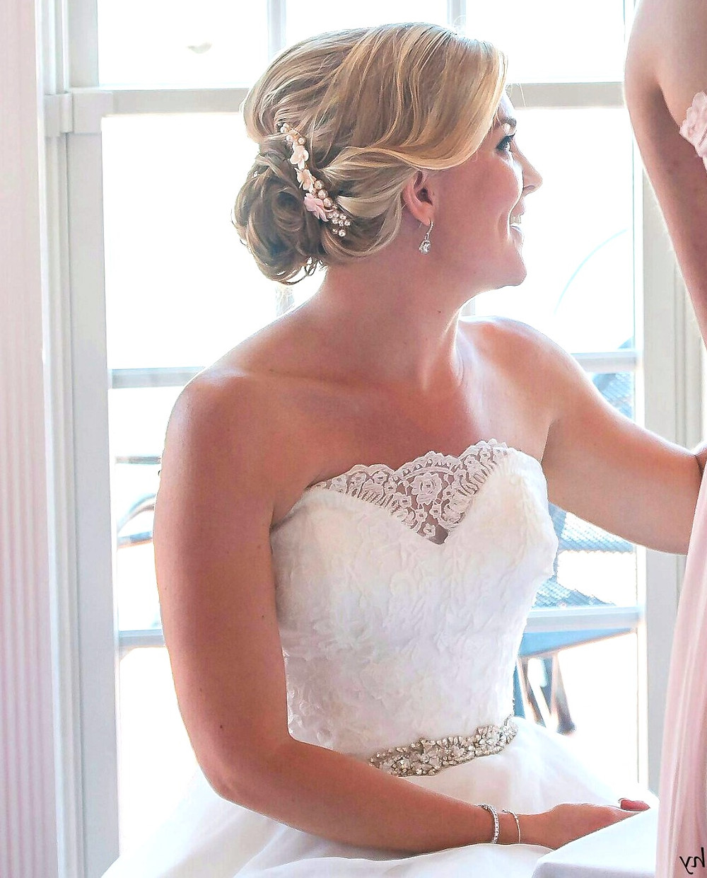 blush pearl bridal hair comb