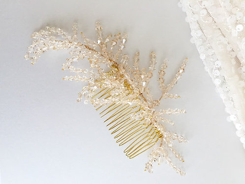 Champagne Crystal Feather Inspired Comb
