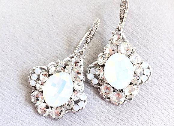 ALLY: White Opal Bridal Earrings