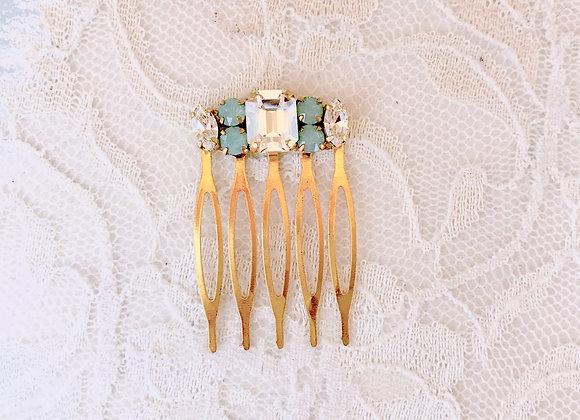 MINDY: Mint Crystal Petite Bridal Comb