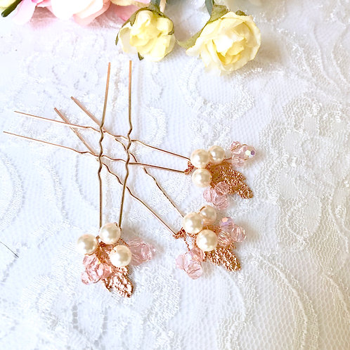 LUCY: Rose Gold Blush Pins (set of 3)