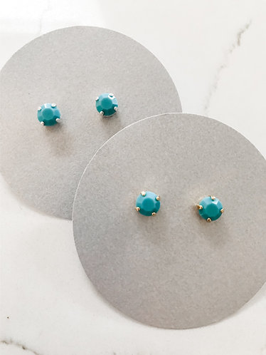 Turquoise Stud Earrings- Gold or Silver