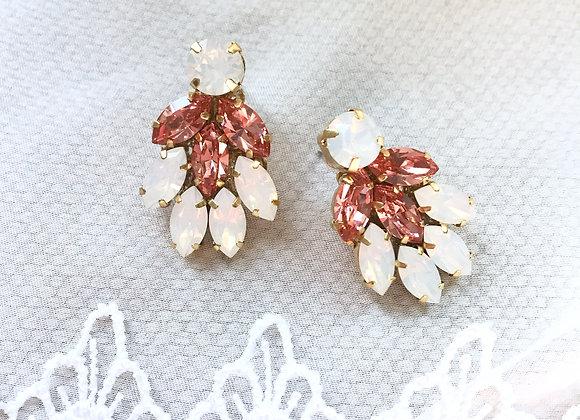 OLIVIA: Pink & White Opal Jeweled Earrings