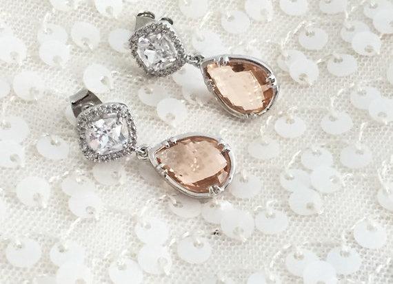 Silver Blush Bridal Earrings, Diamond Cut