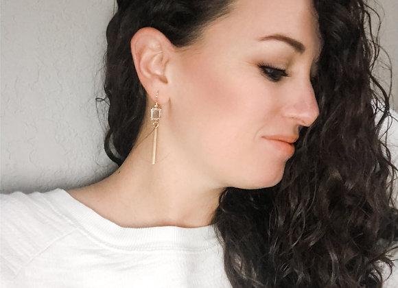 JEWELED GOLD BAR earrings