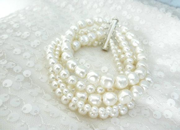 Multi-Strand Pearl Cuff Bracelet