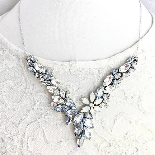ASPEN: Blue Grey Swarovski Floral Rhinestone Necklace