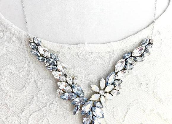 ASPEN: Blue Grey Swarovski Floral Rhinestone Necklace