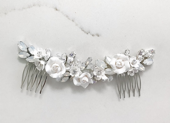 DELILAH:  Opal Floral Bridal Split Comb