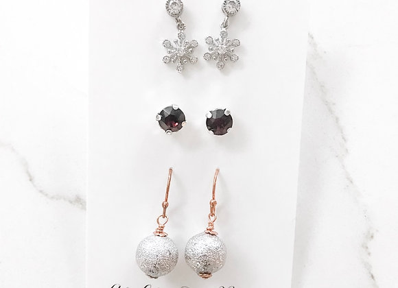 Winter Earring Trio- one left!