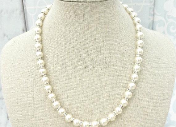 Swarovski Pearl & Rhinestone Strand Necklace