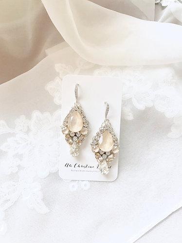 JUDITH: Ivory Swarovski Bridal Earrings