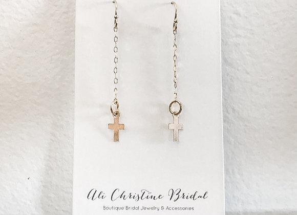 IN HIS NAME Glittering Cross Earrings