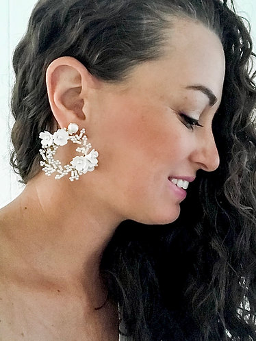 HONEYSUCKLE: Floral Bridal Hoops