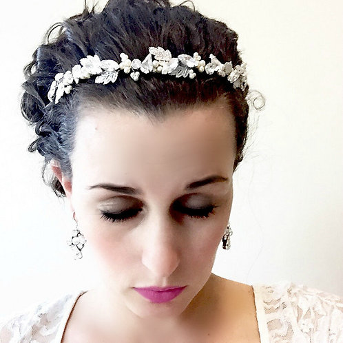 PERCY: Leaf Bridal Headband, Swarovski Pearls