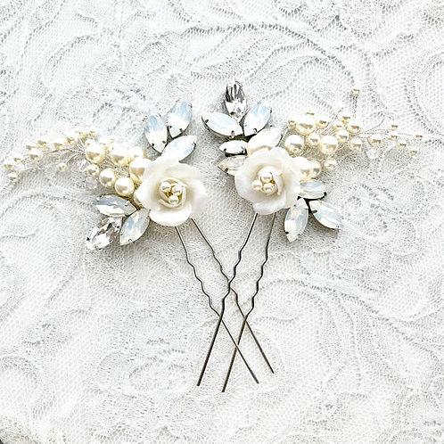 DANA: White Opal Floral Vine Hair Pins