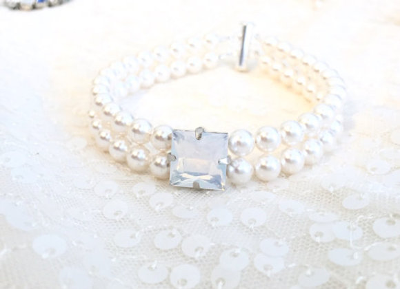 Square Focal Two Strand Pearl Bracelet