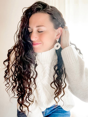 AZTEC GLAM Earrings: Sparkle white clay