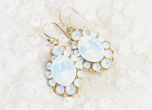 POPPY: White Opal Swarovski Earrings