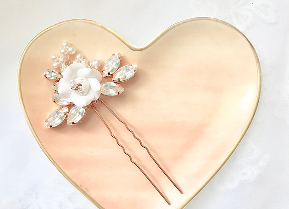 KIMMY: Floral Bridal Hair Pin with Swarovski Leaf Details