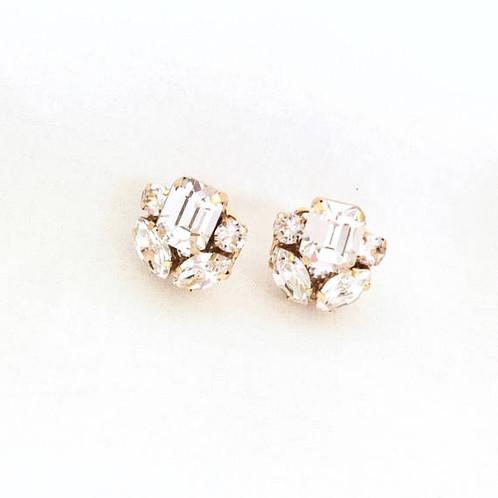 988c75135 These beautiful nickel sized Art Deco style rhinestone earrings are the  perfect stud style featuring beautiful emerald cut Swarovski rhinestones.