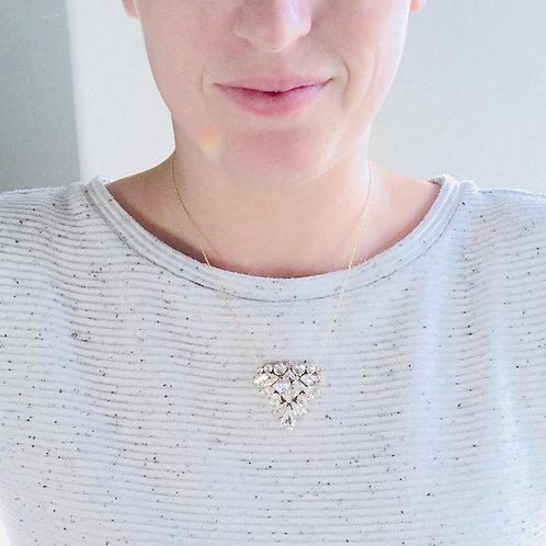 LILLIAN: White Opal Crystal Rhinestone Pendant
