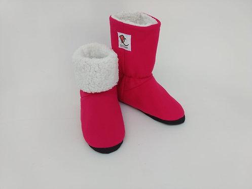 Bota Polar Rosa Pink Soft /Branco carrapinha