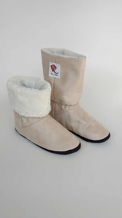 Bota Polar Bege Suede /Branco Pele 6mm
