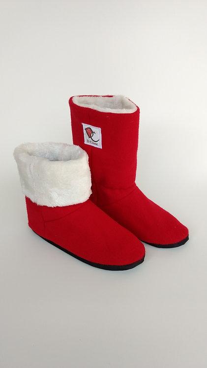 Bota Polar Vermelha Soft /Branca Pele 6mm
