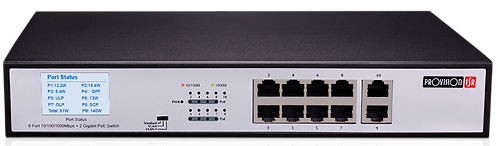 Switch PoES-08130GC+2G, 8 PoE Port 10/100/1000Mbps+2 Port Switch, Provision