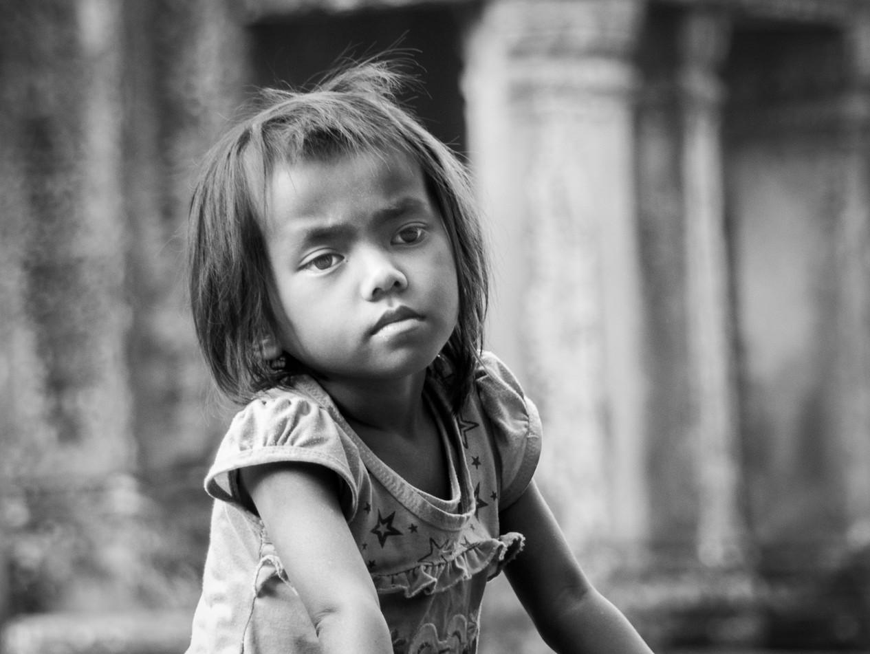 A Pensive Girl in Angkor Wat