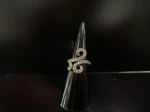 Silver and Cubic Zirconia Swirl Ring