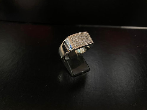 Gents Keeper Silver and Cubic Zirconia Topped Ring
