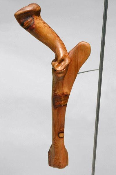 Equis Olecranon: Carved Cedar, Steel Mount, Pedestal, 2007 ©
