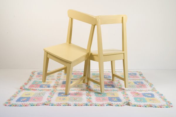 Conjoined Chairs: Painted Pine Chairs, Blanket, 2008 ©