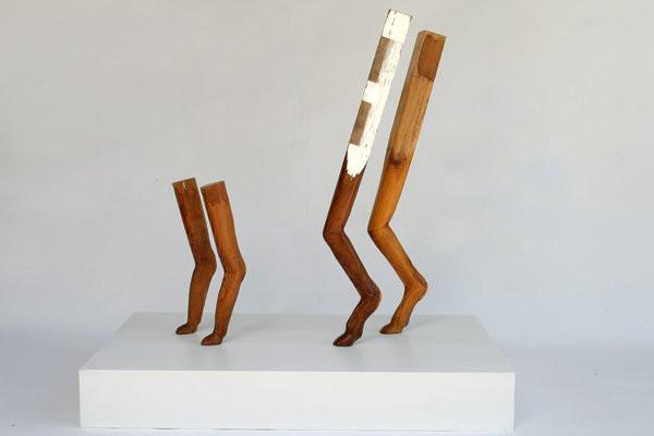 Canine Legs: Carved Cedar, Pedestal, 2007 ©