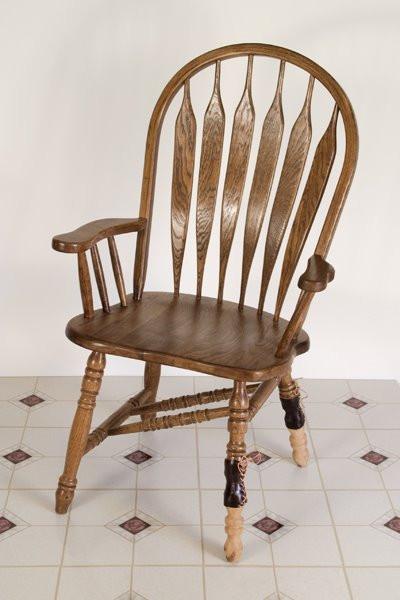 Poliomyelitis Chair: Oak, Carved Cedar, Leather, Linoleum, 2008 ©