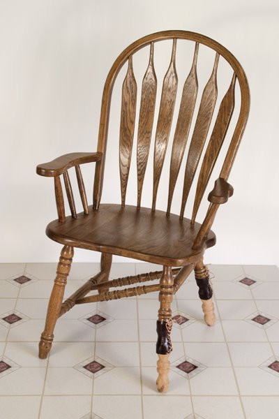 Poliomyelitis Chair: Oak, Carved Cedar, Leather, Linoleum, 2008 ©