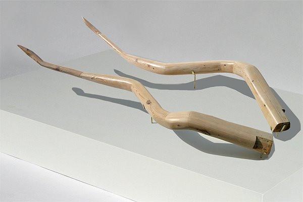 Horns: Carved 2x4's, Brass Mounts, Pedestal, 2007 ©