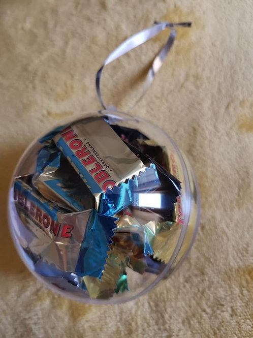 10cm bauble filled with 16x mini Toblerones (4 different flavours)