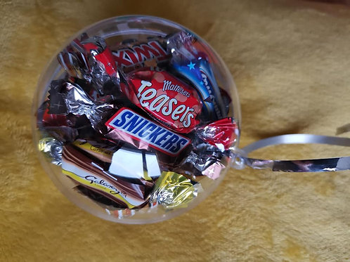 10cm bauble filled with 16x mini celebrations chocolates