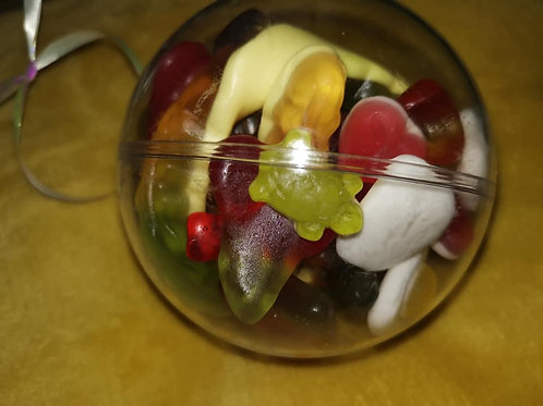 10cm bauble filled with 300g of Haribo only sweets