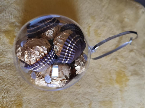10cm bauble filled with 12x ferrero rochers