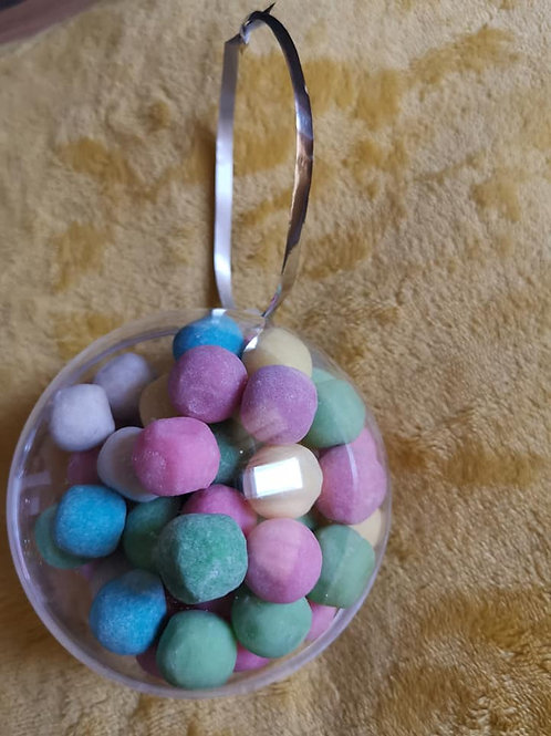 10cm baubles Filled with  10 different flavours of bon bons