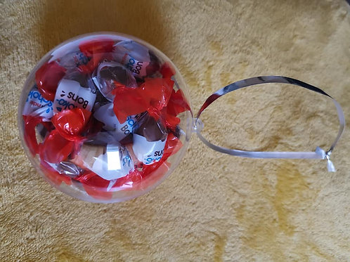 10cm bauble filled with 24x kinder bon bon chocolates