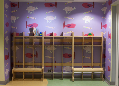 Bear and Fish / Kala and Karhu patterns for a childrens' room in a hotel