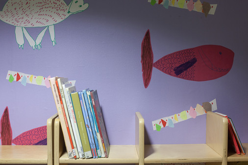 Bear and Fish / Kala and Karhu patterns for a childrens' room in hotel
