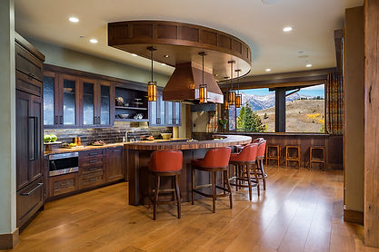 Interior Design, Kitchen, End Grain Butcher Block, Tile, Cabinets, Pendant Lights, Soffit, Copper, Hood, Jackson Hole, Wyoming, Furniture, Bar Stools